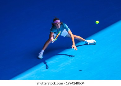 MELBOURNE, AUSTRALIA - JANUARY 22, 2019: Professional tennis player Stefanos Tsitsipas of Greece in action during his quarter-final match at 2019 Australian Open in Melbourne Park