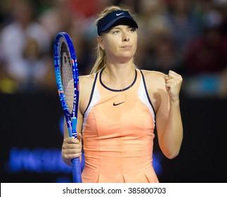 MELBOURNE, AUSTRALIA - JANUARY 22 : Maria Sharapova in action at the 2016 Australian Open
