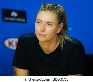 MELBOURNE, AUSTRALIA - JANUARY 22 : Maria Sharapova talks to the media at the 2016 Australian Open