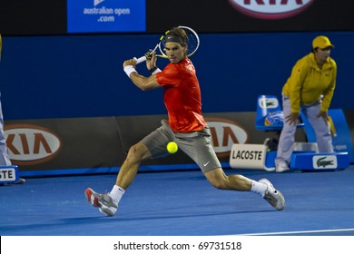 MELBOURNE, AUSTRALIA - JANUARY 22: Rafael Nadal(ESP)[1] who defeats Bernard Tomic (AUS) at the Australian Open on January 22, 2011 in Melbourne, Australia