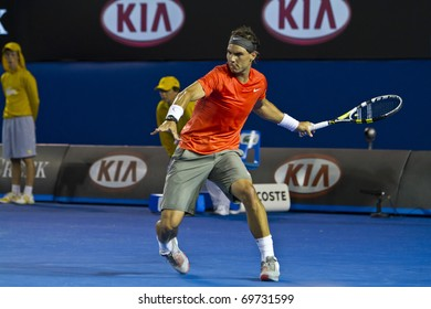 MELBOURNE, AUSTRALIA - JANUARY 22: Rafael Nadal(ESP)[1] who defeats Bernard Tomic (AUS) at the Australian Open on January 22, 2011 in Melbourne, Australia