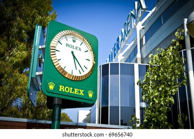 MELBOURNE, AUSTRALIA - JANUARY 22:  A Rolex clock next to the Rod Laver Arena which holds the center court at the Australian Open, January 22, 2011 in Melbourne, Australia