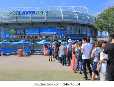 MELBOURNE AUSTRALIA - JANUARY 23, 2015: Unidentified people queue at Australian Open tennis entrance. Australian Open is a major tennis tournament held annually in Melbourne.
