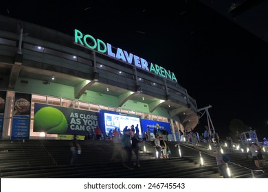 MELBOURNE AUSTRALIA - JANUARY 23, 2015: Unidentified people visit Australian Open tennis at Rod Laver Arena. Rod Laver Arena is the main venue for Australian Open tennis tournament.