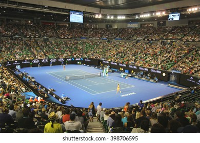MELBOURNE, AUSTRALIA - JANUARY 23, 2016: Rod Laver Arena during Australian Open 2016 match at Australian tennis center in Melbourne Park. It is the main venue for the Australian Open since 1988