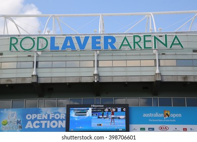 MELBOURNE, AUSTRALIA - JANUARY 23, 2016: Rod Laver Arena at Australian tennis center in Melbourne Park. It is the main venue for the Australian Open tennis championship since 1988