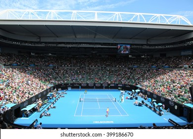 MELBOURNE, AUSTRALIA - JANUARY 23, 2016: Rod Laver arena during Australian Open 2016 match at Australian tennis center in Melbourne Park. It is the main venue for the Australian Open since 1988