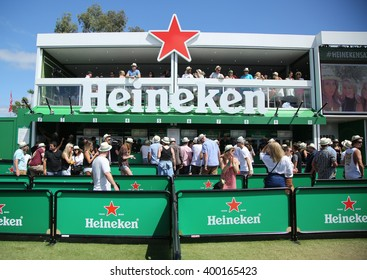 MELBOURNE, AUSTRALIA - JANUARY 23, 2016: Heineken Beer Garden opens on Grand Slam Oval during Australian Open 2016 in Melbourne Park. Heineken is an Australian Open proud sponsor for 20 years