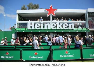 MELBOURNE, AUSTRALIA - JANUARY 23, 2016: Heineken Beer Garden opens on Grand Slam Oval during Australian Open 2016 in Melbourne Park. Heineken is an Australian Open proud sponsor for 20 years