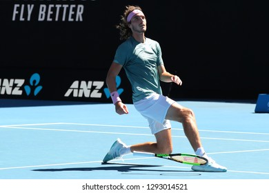 MELBOURNE, AUSTRALIA - JANUARY 23, 2019: Professional tennis player Stefanos Tsitsipas celebrates victory after his quarter-final match at Australian Open 2019 in Melbourne Park