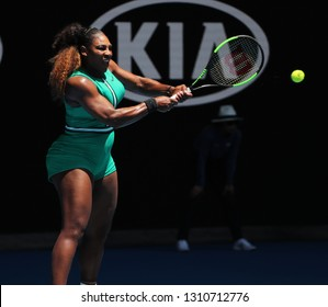 MELBOURNE, AUSTRALIA - JANUARY 23, 2019: 23-time Grand Slam Champion Serena Williams of United States in action during her quarterfinal match at 2019 Australian Open in Melbourne Park