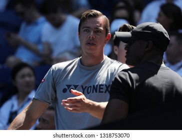 MELBOURNE, AUSTRALIA - JANUARY 23, 2019: Sascha Bajin, coach of Grand Slam champion Naomi Osaka of Japan, after her quarterfinal match at 2019 Australian Open in Melbourne Park