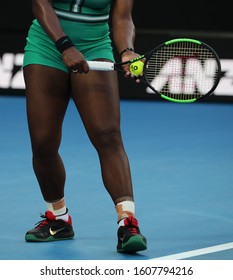 MELBOURNE, AUSTRALIA - JANUARY 23, 2019: 23-time Grand Slam Champion Serena Williams of United States plays with Wilson tennis racket during her match at 2019 Australian Open in Melbourne Park