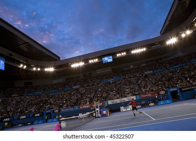 MELBOURNE, AUSTRALIA - JANUARY 23: Wide angle view of Rod Laver Arena during the 2010 Australian Open on January 23, 2010 in Melbourne, Australia