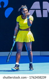 MELBOURNE, AUSTRALIA - JANUARY 24, 2016: Twenty one times Grand Slam champion Serena Williams in action during her round 4 match at 2016 Australian Open at Rod Laver Arena in Melbourne
