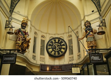 MELBOURNE, AUSTRALIA - JANUARY 24, 2016: Gog and Magog with Gaunt's clock at Royal Arcade in Melbourne. The arcade was originally constructed in 1869.