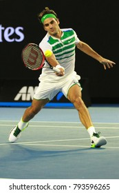 MELBOURNE, AUSTRALIA - JANUARY 24, 2016: Seventeen times Grand Slam champion Roger Federer of Switzerland in action during round four match at Australian Open 2016 in Melbourne Park