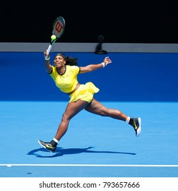 MELBOURNE, AUSTRALIA - JANUARY 24, 2016: Twenty one times Grand Slam champion Serena Williams in action during her round 4 match at Australian Open 2016 at Rod Laver Arena in Melbourne