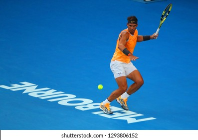 MELBOURNE, AUSTRALIA - JANUARY 24, 2019: Seventeen times Grand Slam champion Rafael Nadal of Spain in action during his semifinal match at 2019 Australian Open in Melbourne Park