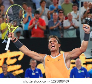 MELBOURNE, AUSTRALIA - JANUARY 24, 2019: Seventeen times Grand Slam champion Rafael Nadal of Spain celebrates victory after his semifinal match at 2019 Australian Open in Melbourne Park