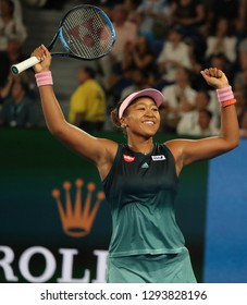 MELBOURNE, AUSTRALIA - JANUARY 24, 2019: Grand Slam Champion Naomi Osaka of Japan celebrates victory after her semifinal match at 2019 Australian Open in Melbourne Park