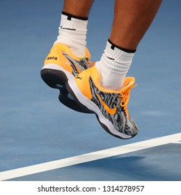 MELBOURNE, AUSTRALIA - JANUARY 24, 2019: Seventeen times Grand Slam champion Rafael Nadal of Spain wears custom Nike tennis shoes during his semifinal match at 2019 Australian Open in Melbourne Park