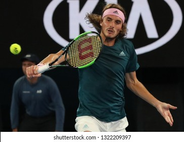 MELBOURNE, AUSTRALIA - JANUARY 24, 2019: Professional tennis player Stefanos Tsitsipas of Greece in action during his semifinal match at Australian Open 2019 in Melbourne Park