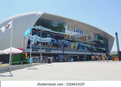 MELBOURNE, AUSTRALIA - JANUARY 24, 2019: Rod Laver arena during 2019 Australian Open at Australian tennis center in Melbourne Park. It is the main venue for the Australian Open since 1988