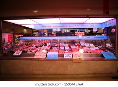 MELBOURNE, AUSTRALIA - JANUARY 24, 2019: Inside of the Queen Victoria Market in Melbourne, Australia. It is a major landmark and the largest open air market in the Southern Hemisphere