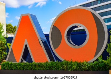 Melbourne / Australia - January 24 2020: Logo of Australian Open 2020 at Melbourne Park, Melbourne, Australia
