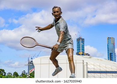 Melbourne / Australia - January 24 2020: Statue of Rod Laver, an Australian tennis player, at Melbourne Park, Melbourne, Australia
