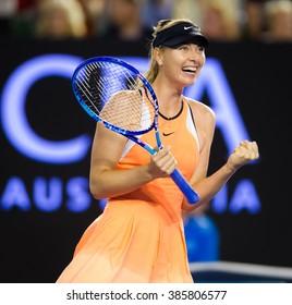 MELBOURNE, AUSTRALIA - JANUARY 24 : Maria Sharapova in action at the 2016 Australian Open