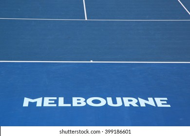 MELBOURNE, AUSTRALIA - JANUARY 25, 2016: Iconic Melbourne sign at Rod Laver Arena at Australian tennis center in Melbourne Park