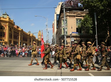 MELBOURNE, AUSTRALIA - JANUARY 25, 2016: Participants marching during Australia Day Parade in Melbourne