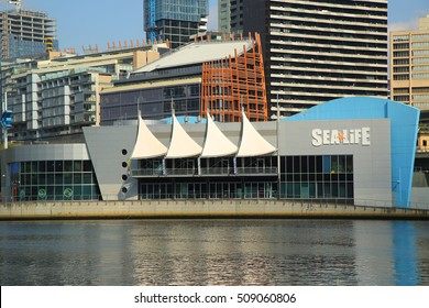 MELBOURNE, AUSTRALIA - JANUARY 25, 2016: Sea Life Melbourne Aquarium on the banks of the Yarra River