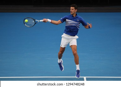 MELBOURNE, AUSTRALIA - JANUARY 25, 2019: 14 time Grand Slam Champion Novak Djokovic in action during his semifinal match at 2019 Australian Open in Melbourne Park