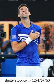 MELBOURNE, AUSTRALIA - JANUARY 25, 2019: 14 time Grand Slam Champion Novak Djokovic of Serbia celebrates victory after his semifinal match at 2019 Australian Open in Melbourne Park