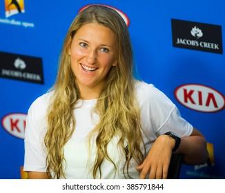 MELBOURNE, AUSTRALIA - JANUARY 25 : Victoria Azarenka talks to the media at the 2016 Australian Open