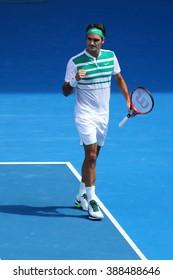 MELBOURNE, AUSTRALIA - JANUARY 26, 2016: Seventeen times Grand Slam champion Roger Federer of Switzerland in action during quarterfinal match at Australian Open 2016 in Melbourne Park