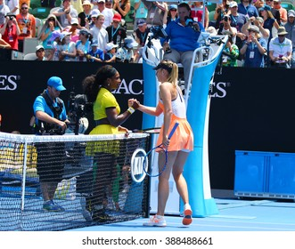 MELBOURNE, AUSTRALIA - JANUARY 26, 2016: Grand Slam champion Serena Williams of United States (L) and Maria Sharapova of Russia after quarterfinal match at Australian Open 2016 at Rod Laver Arena