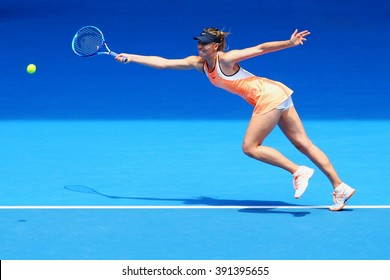 MELBOURNE, AUSTRALIA - JANUARY 26, 2016: Five times Grand Slam champion Maria Sharapova of Russia in action during quarterfinal match against Serena Williams at Australian Open 2016 at Rod Laver Arena