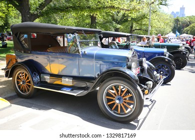 MELBOURNE, AUSTRALIA - JANUARY 26, 2019: Historical vintage cars on display at 2019 Royal Automobile Club of Victoria Australia Day Heritage Vehicle Showcase in Kings Domain Gardens, Melbourne