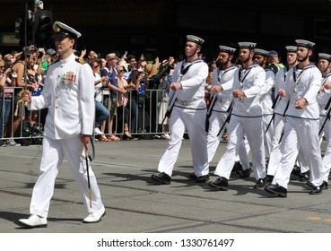 MELBOURNE, AUSTRALIA - JANUARY 26, 2019: Royal Australian Navy marching during 2019 Australia Day Parade in Melbourne