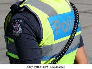 MELBOURNE, AUSTRALIA - JANUARY 26, 2019: Victoria Police shoulder patch. Victoria Police Department provides security during 2019 Australia Day Parade in Melbourne