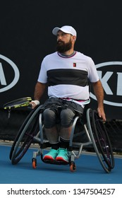 MELBOURNE, AUSTRALIA - JANUARY 26, 2019: Tennis player David Wagner of USA in action during his 2019 Australian Open wheelchair quad singles match in Melbourne Park
