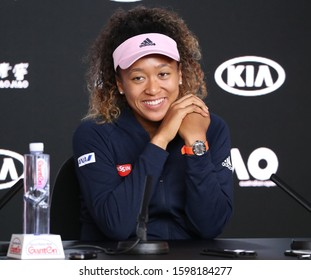 MELBOURNE, AUSTRALIA - JANUARY 26, 2019: 2019 Australian Open Champion Naomi Osaka of Japan during press conference following her win in the final match at Rod Laver Arena in Melbourne Park