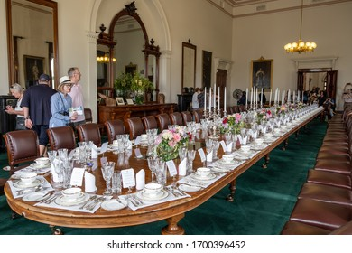 Melbourne, Australia - January 26, 2020: Visitors at the Government House dining room during open day