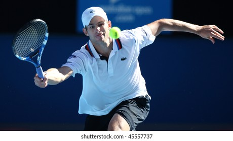 MELBOURNE, AUSTRALIA - JANUARY 26: Andy Roddick in his quarter final loss to Maran Cilic during the 2010 Australian Open on January 26, 2010 in Melbourne, Australia