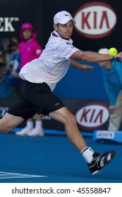 MELBOURNE, AUSTRALIA - JANUARY 26: Andy Roddick in action against Marin Cilic's (Croatia) quarter finals game during the 2010 Australian Open on January 26, 2010 in Melbourne, Australia