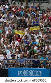 MELBOURNE, AUSTRALIA - JANUARY 26: The crowd watching Andy Murray(GBR)[5] and Alexandr Dolgopolov(UKR) on center court at the Australian Open on January 26, 2011 in Melbourne, Australia